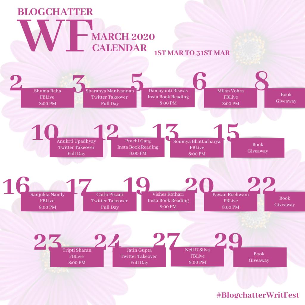 Blogchatter Writfest Calendar