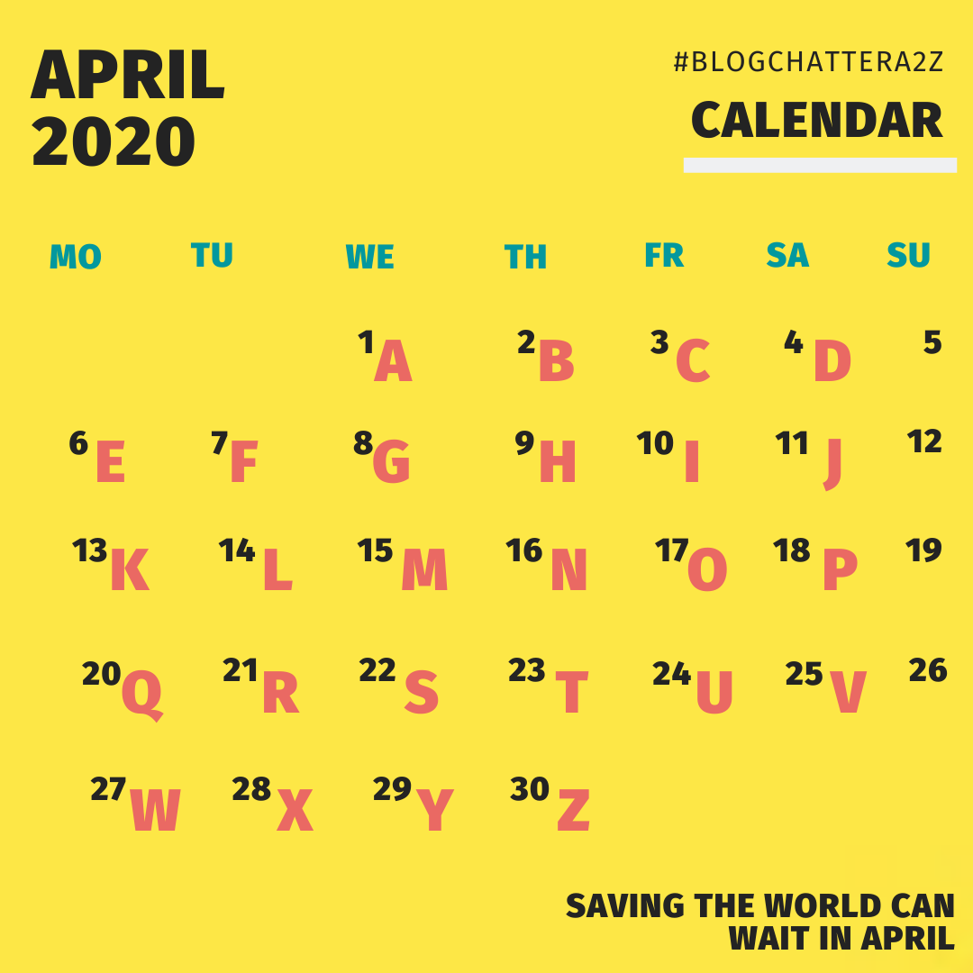 #BlogchatterA2Z Calendar